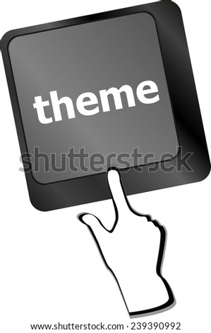 theme button on computer keyboard keys, business concept - stock photo
