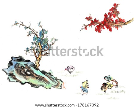 theme of traditional China--stone and tree, plum blossom, pine tree with bird and insect