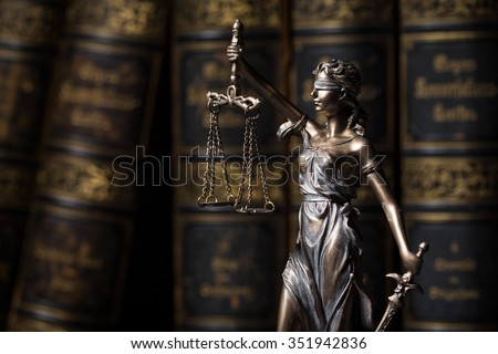 Themis figure in library  - stock photo