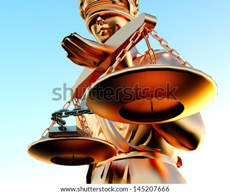Themis statue and handcuffs over sky background - stock photo