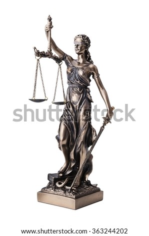 Themis with scale and sword isolated on white. Justice and law symbol statue - stock photo