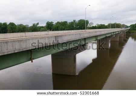 Theodore Dreiser Memorial Bridge over the Wabash River, Terre Haute, Indiana - stock photo