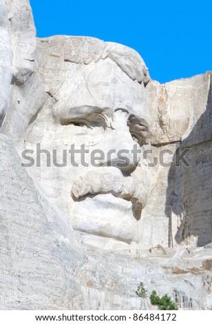 Theodore Roosevelt on Mount Rushmore - stock photo