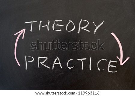 Theory and practice words written on the chalkboard