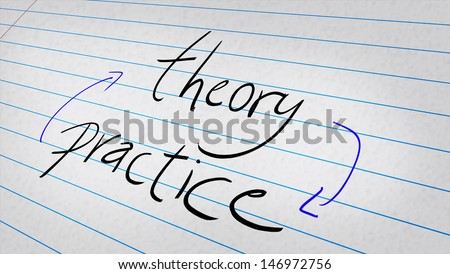 Theory, Practice written on a note pad  - stock photo