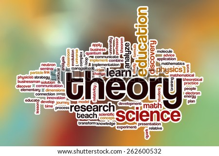 Theory word cloud concept with abstract background - stock photo