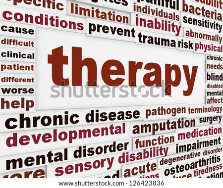 Therapy medical creative background. Rehabilitation message poster concept - stock photo
