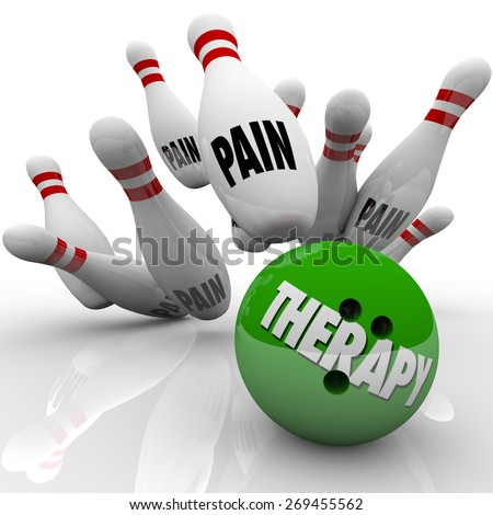 Therapy word on a bowling ball striking pins marked Pain to illustrate curing or preventing symptoms of injury, sickness, illness, condition or disease - stock photo