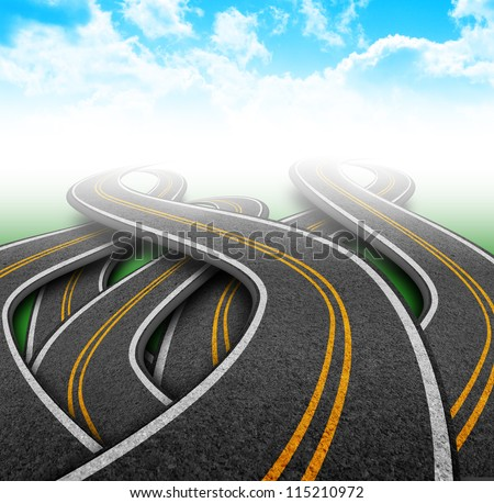 There are many curvy roads vanishing into a cloudy sky. The roads have yellow lines and they are twisting. Use it for a destination or travel concept. - stock photo