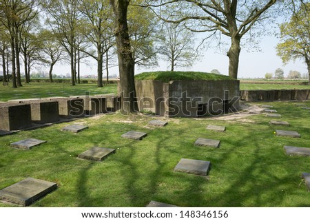 There are more than 44000 German dead buried here. During the First Battle of Ypres 1914 inexperienced German troops made an ill fated frontal attack against British and French forces.  - stock photo