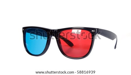 There is a 3d eyeglass, one glass red, other blue - stock photo
