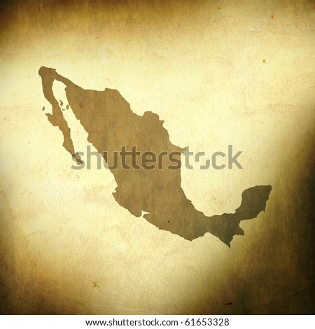 There is a map of Mexico on grunge paper background - stock photo