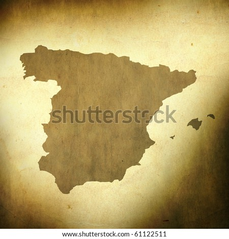 There is a map of Spain on grunge paper background - stock photo