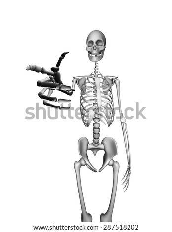 There is a Skeleton pointing directly at you. Isolated on white  - stock photo