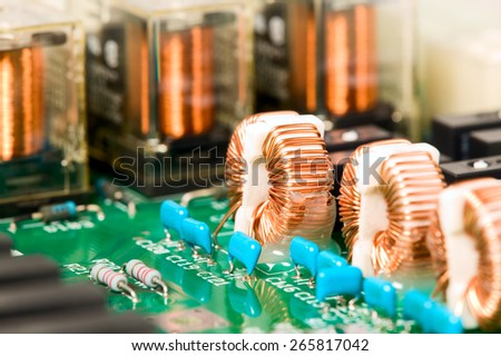 There is electronic microscheme with electrical elements - stock photo