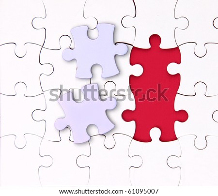 There is no two elements , red, puzzle - stock photo