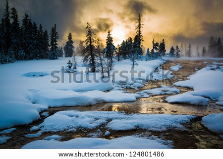 Thermal features at West thumb on Yellowstone Lake, Yellowstone National Park - stock photo