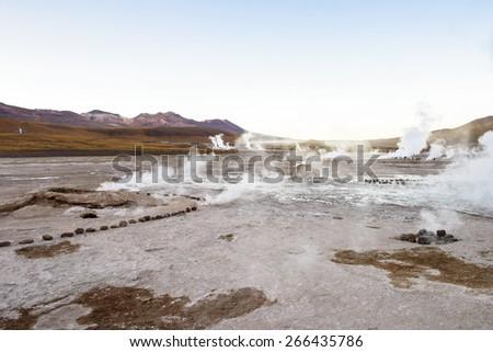 Thermal geysers of Atacama, Chile. - stock photo