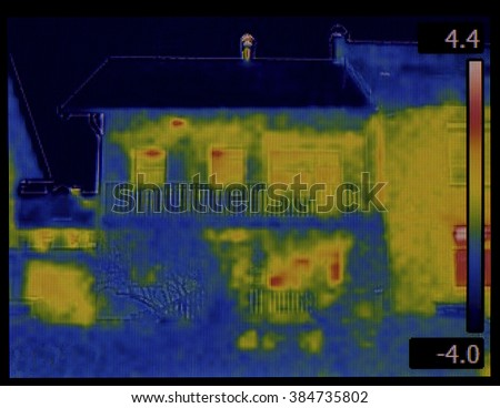 Thermal Image of House Facade - stock photo