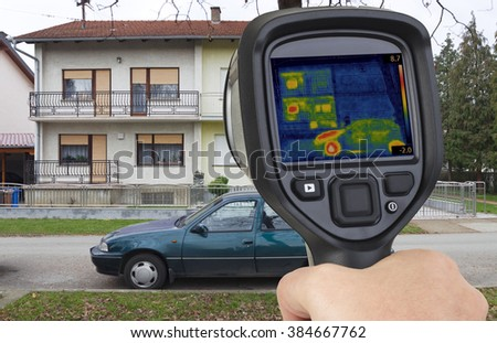 Thermal Image of two Houses - stock photo