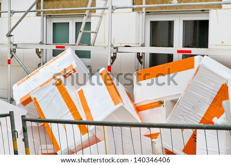 Thermal isolation with polystyrene - stock photo