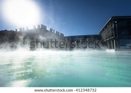 Thermal lagoon under deep blue sky outdoors - stock photo