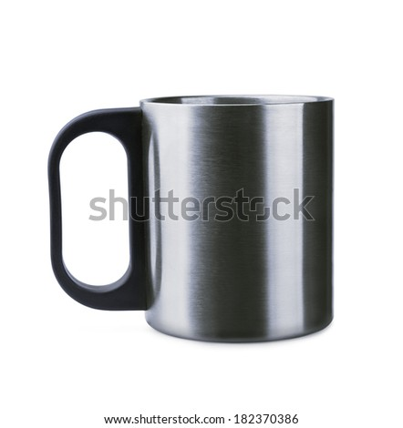 Thermal mug on a white background - stock photo