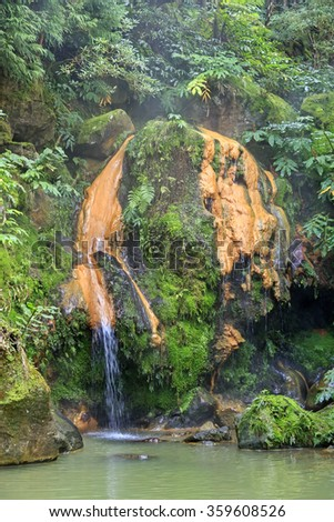 Thermal pool Caldeira Velha, Sao Miguel island on Azores, Portugal  - stock photo