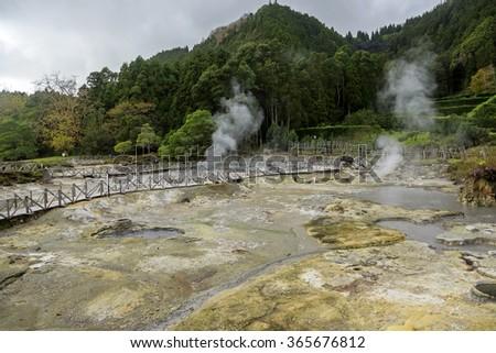 Thermal pool Caldeiras das Furnas, Sao Miguel island on Azores, Portugal - stock photo
