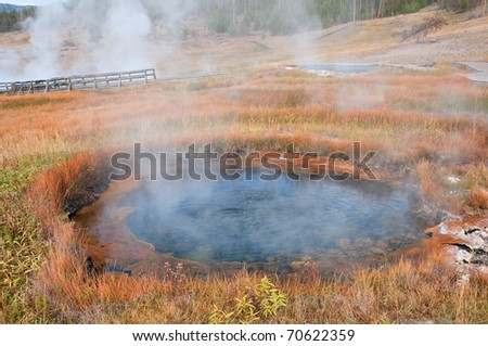 Thermal pool in Yellowstone National Park, Wyoming. - stock photo