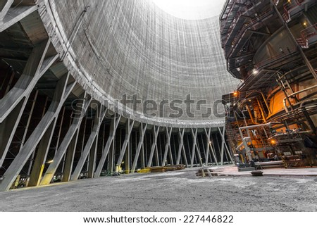 Thermal power plant interior - stock photo