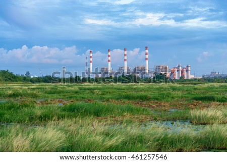 Thermal power plant with lagoon. Bangpakong Powerplant, Chonburi, Thailand