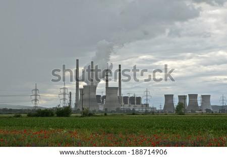 Thermal power station in Turceni, Romania - stock photo