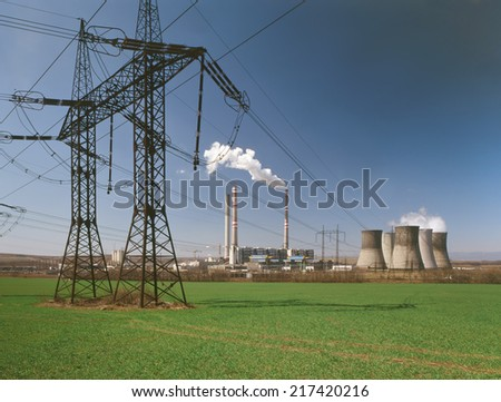 thermal power station with electric wires - stock photo