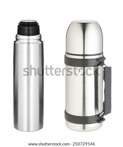 thermo bottles isolated - stock photo