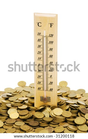Thermometer and coins