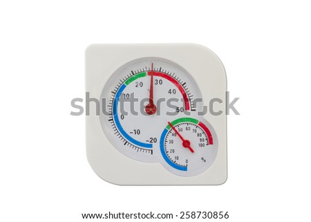 Thermometer and humidity meter isolated on white background - stock photo