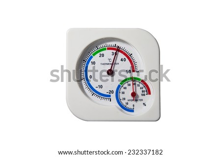 thermometer and hygrometer isolated on white - stock photo