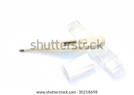 thermometer and the box isolated on the white background - stock photo