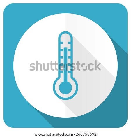 thermometer blue flat icon temperature sign  - stock photo