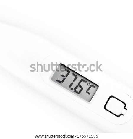 Thermometer closeup on white background