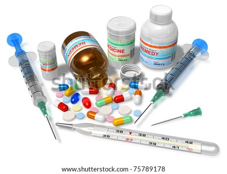 Thermometer, drugs and syringes isolated on white - stock photo