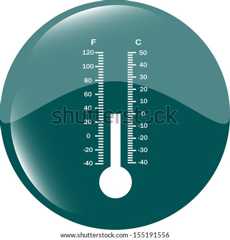 Thermometer icon blue button, raster - stock photo