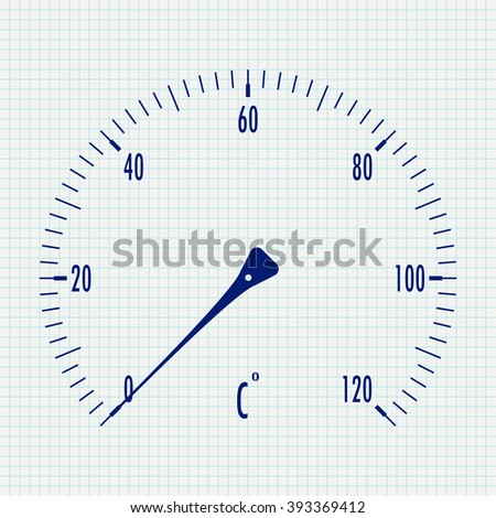 Thermometer icon.   illustration on Notebook sheet texture background. Raster version - stock photo