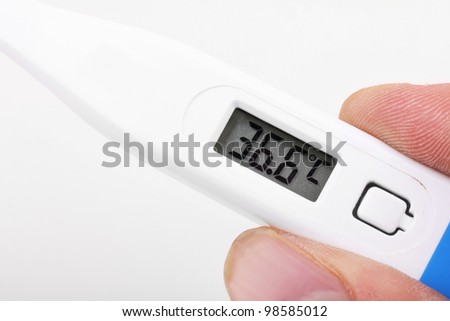 Thermometer in hand, close up on white