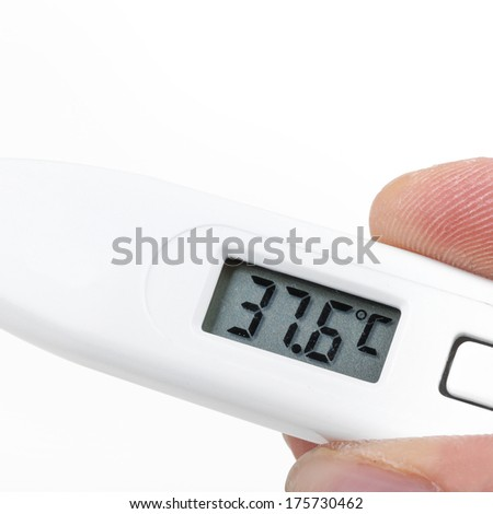 Thermometer in hand, closeup on white