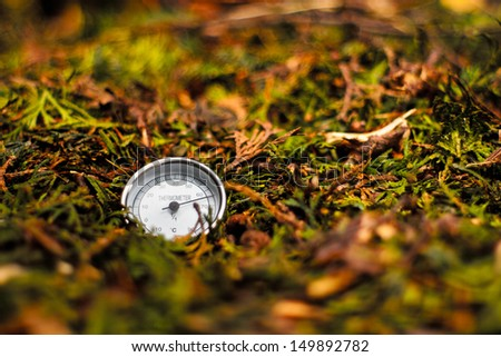 Thermometer in the compost pile - stock photo