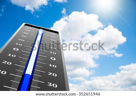 Thermometer indicates low temperature on the blue sky, three-dimensional rendering - stock photo