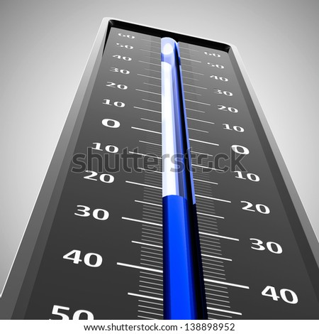 Thermometer indicates low temperature, three-dimensional rendering - stock photo