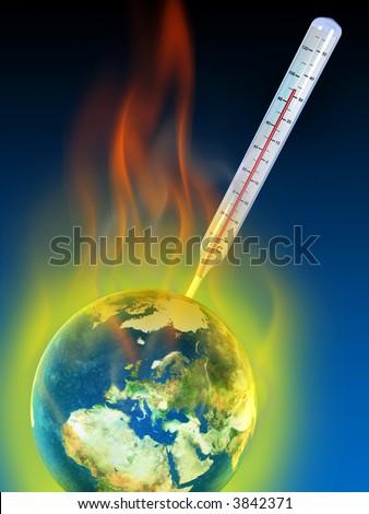 Thermometer measuring planet earth temperature. Digital illustration. - stock photo